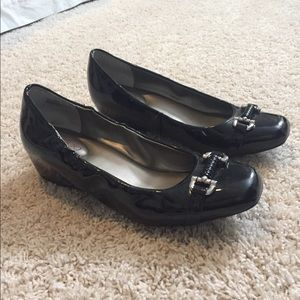 Black patent leather wedge